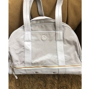 Light grey lululemon duffel bag